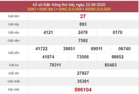 Dự đoán XSDNO 29/8/2020 chốt lô VIP Đắc Nông thứ 7