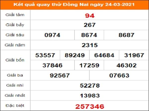 Quay thử Đồng Nai ngày 24/3/2021 thứ 4